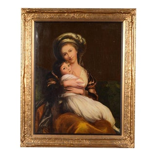 19th-C. German Mother & Son Oil Painting