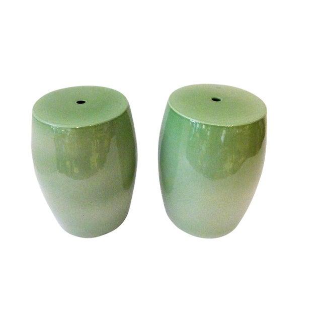 Celadon Garden Stools - A Pair - Image 1 of 6