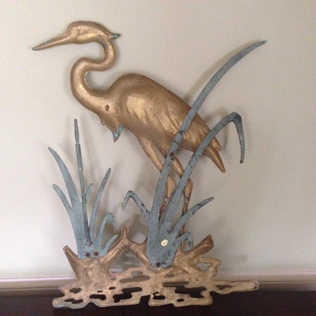 Large Vintage Brass Heron Wall Hanging - Image 8 of 11