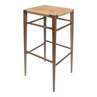 Smilow Walnut Bar Stool with Rush Seat