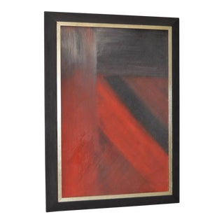1970 Vintage Black & Red Abstract Painting by RM