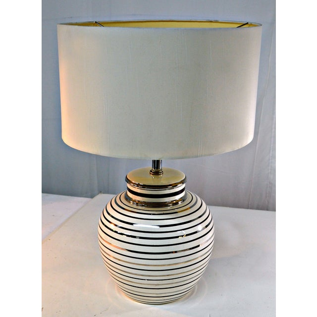 Mid Century Bowl Table Lamp & Drum Shade - Image 8 of 10