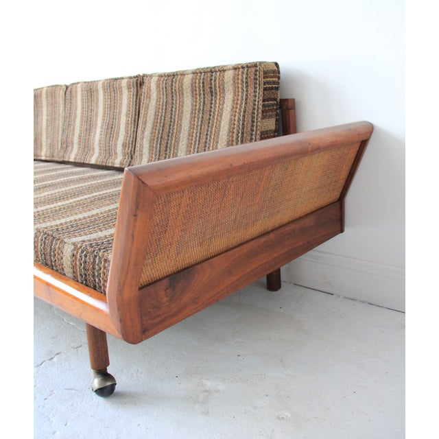 Image of Vintage Mid Century Modern Wood & Rattan Day Bed