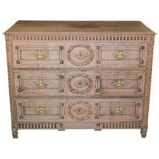 18th Century French Louis XVI Bleached Oak Commode