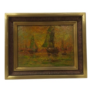 1900's Oil on Board Ships Painting