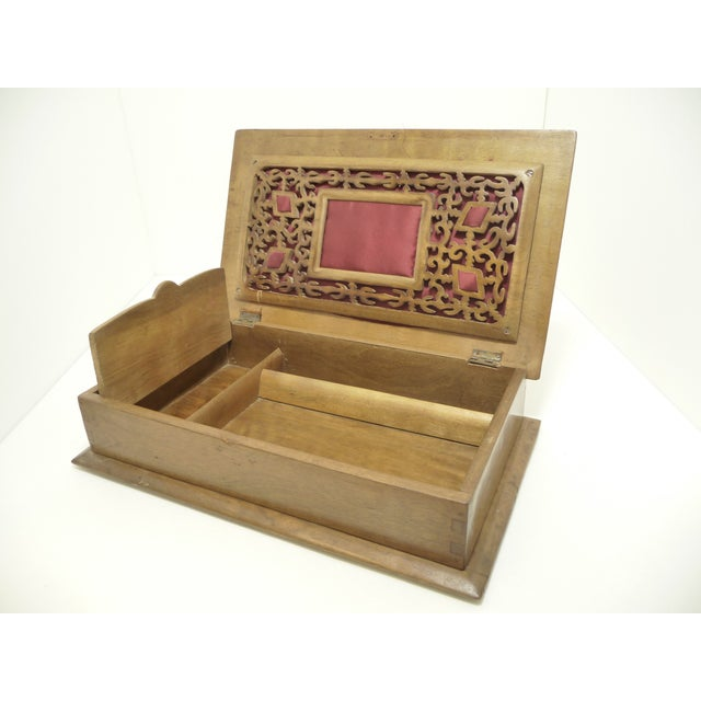 Antique Pierce Carved Wood Sewing Box - Image 4 of 6
