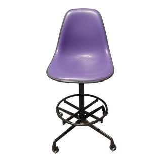 Mid-Century Eames Purple Stool by Herman Miller