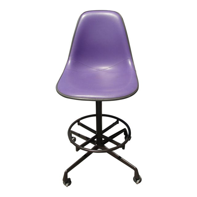 Image of Mid-Century Eames Purple Stool by Herman Miller
