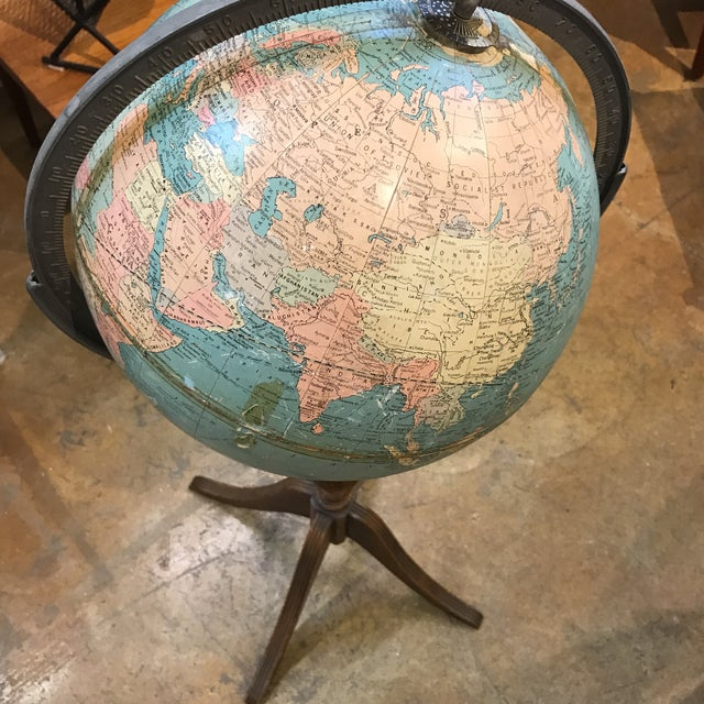Vintage Globe on Wooden Pedestal - Image 4 of 5