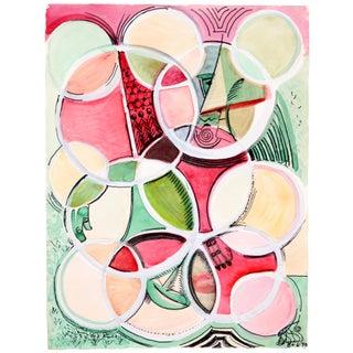 Robert Lohman 'Circles in Red & Green' Painting