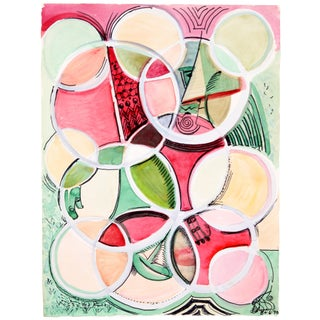 Robert Lohman 'Circles in Red & Green' Painting