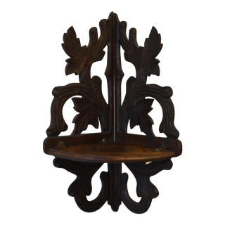 Carved Black Forest Corner Shelf