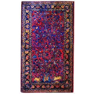 20th Century Tree-Of-Life Kashan Prayer Rug - 2′2″ × 4′