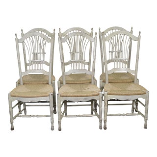 French Country Style Wheat Back Distressed Painted Rush Seat Dining Chairs - Set of 6