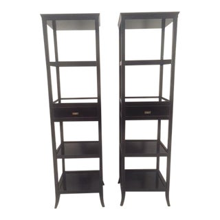 Contemporary Wood Black Lacquered Etagere Shelves - A Pair