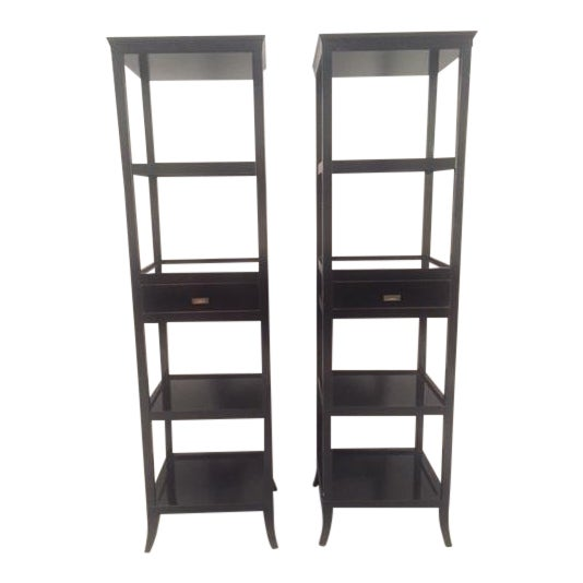 Contemporary Wood Black Lacquered Etagere Shelves - A Pair - Image 1 of 9