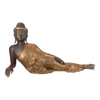Cast Bronze Reclining Charcoal Buddha