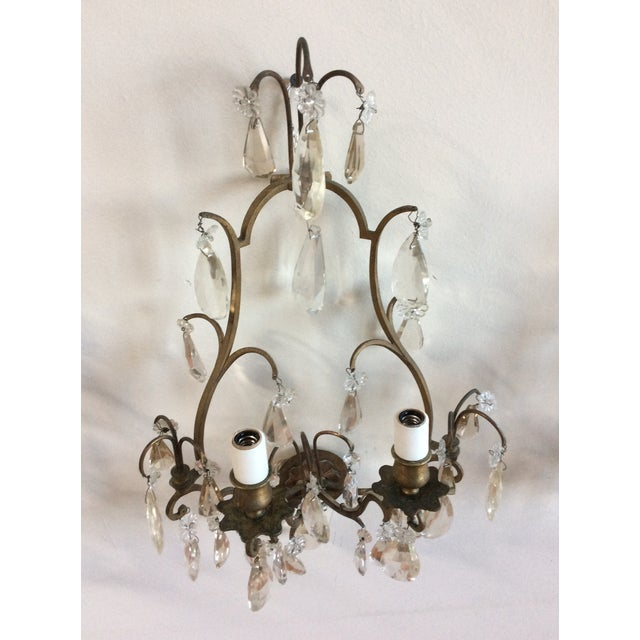 French Bronze & Crystal Wall Sconces - Set of 6 - Image 3 of 8