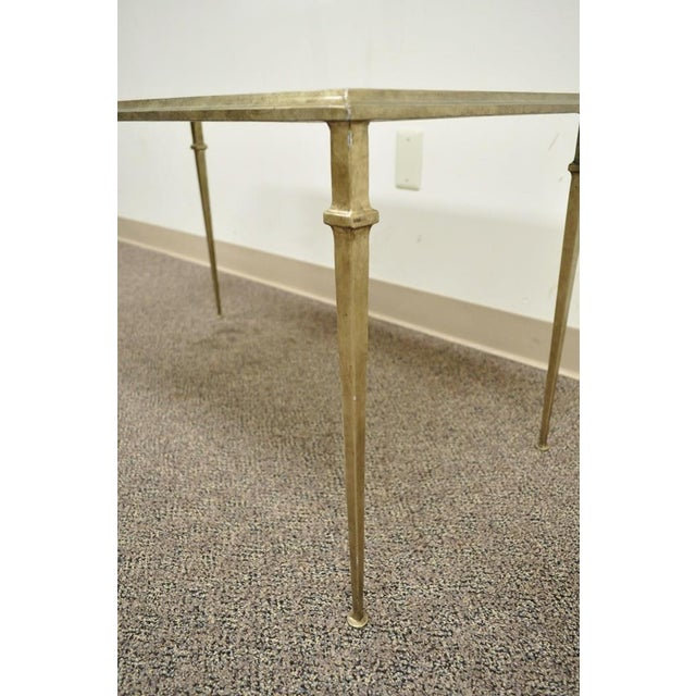 Neoclassical Style Gilt Metal Silver Leaf Mirror Top Coffee Table - Image 5 of 11