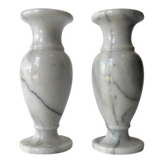 Vintage White Marble Vases - A Pair