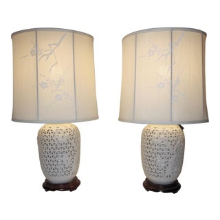 1960's Japanese Blanc De Chine Porcelain Lamp - A Pair