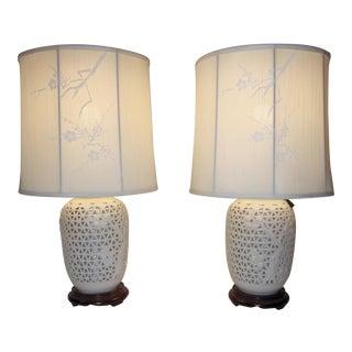 1960's Japanese Blanc De Chine Porcelain Lamp - A Pair