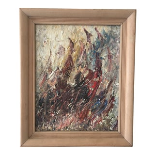 Vintage Abstract Oil on Board in Shades of Brown