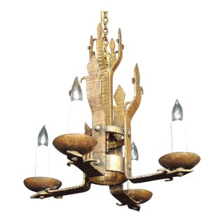 Early 20th C Spanish Iron Chandelier