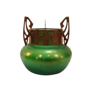 Art Nouveau Loetz Green Iridescent Vase