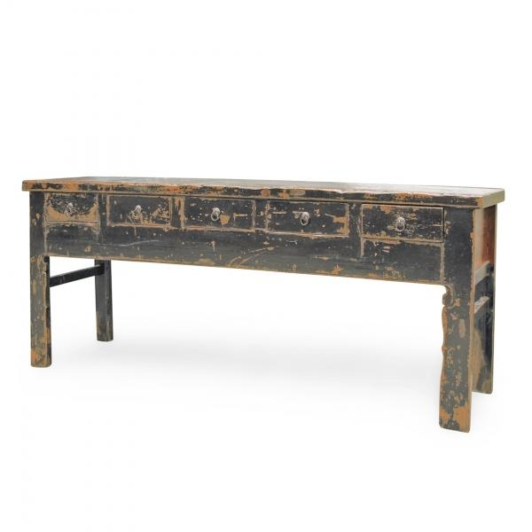 Image of Distressed Black 5 Drawer Console