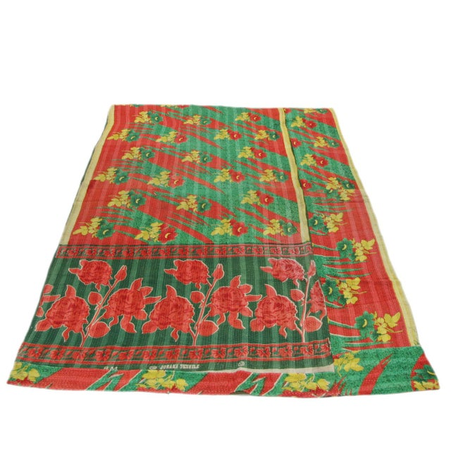 Image of Vintage Lime and Red Kantha Quilt