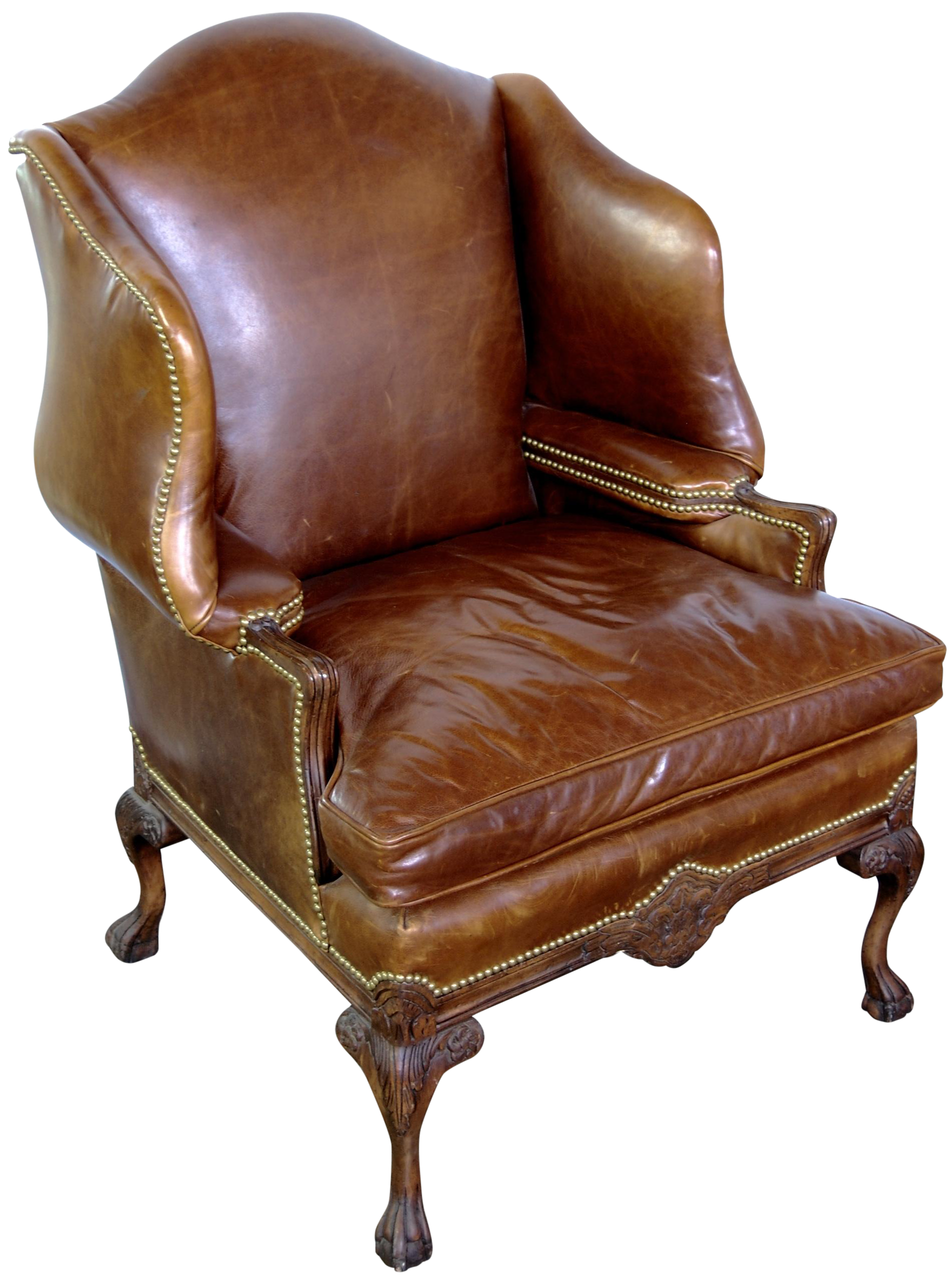 Cognac Leather Wing Back Chair
