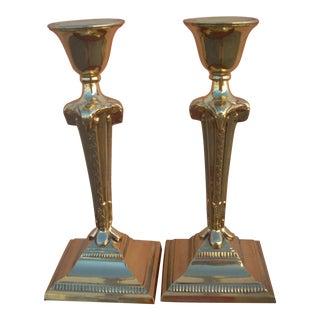 Neoclassical Brass Candlesticks - A Pair