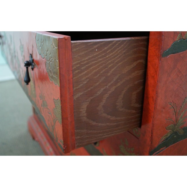 Image of Baker Chinoiserie Decorated Red Secretary Desk
