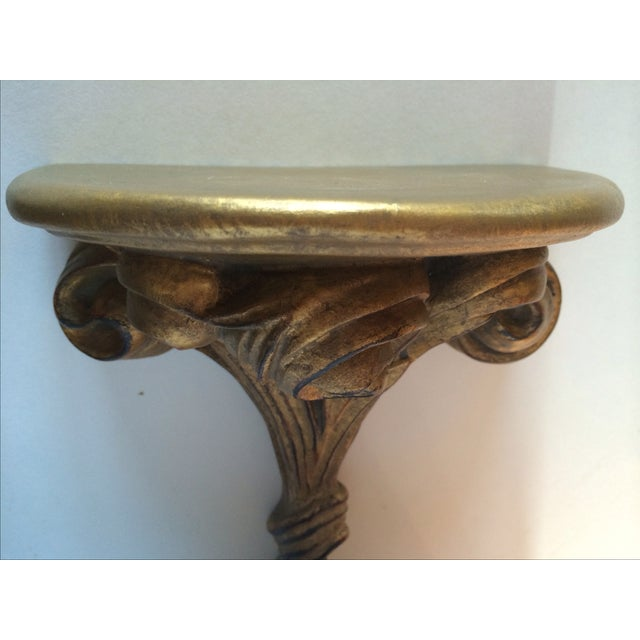 Image of Antique Corbel Gilt Gold Wall Sconce Shelf - Pair