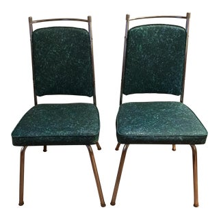 Retro Pattern Teal Chairs - A Pair