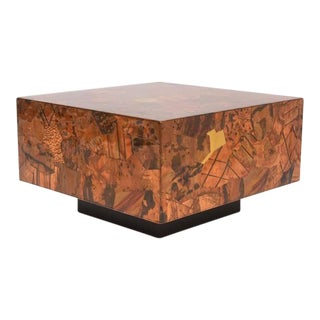 Brutalist Copper-Clad Coffee Table in the Manner of Paul Evans