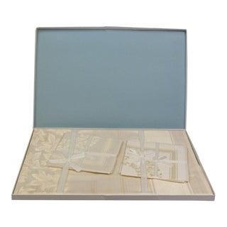Antique Boxed German Linen Tablecloth & 6 Napkins