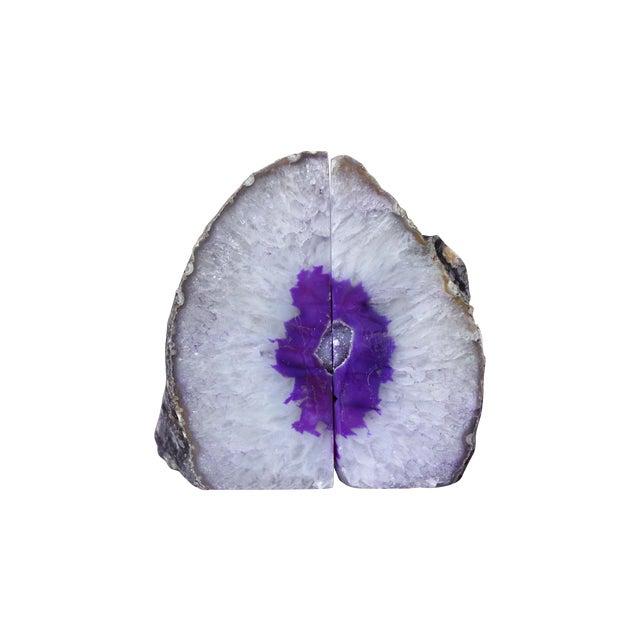 Hand-Cut Genuine Brazilian Purple Agate Bookends - Image 1 of 5