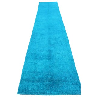 Overdyed Blue Turquoise Rug Runner - 2′8″ × 13′8″