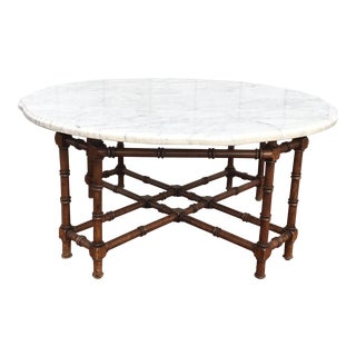 Faux Bamboo and Carrara Marble Coffee Table