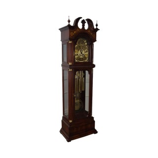 Charles Sligh Mahogany Inlaid 9 Tube Grandfather Clock
