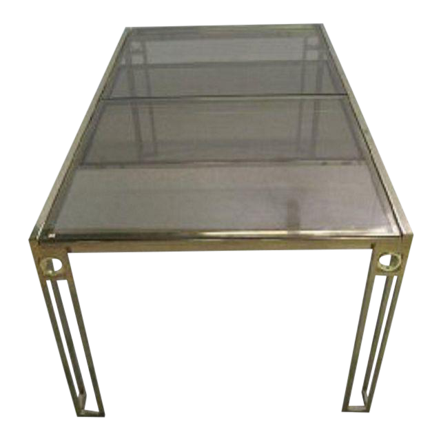 Mid Century Brass Smoke Glass Expanding Dining Table