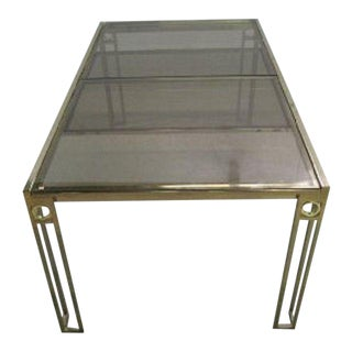 Mastercraft Style Brass Glass Extension Dining Table
