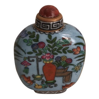 Asian Turquoise Hand Painted Porcelain Bottle