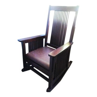 Mission Style Wood Rocking Chair With Leather Seat