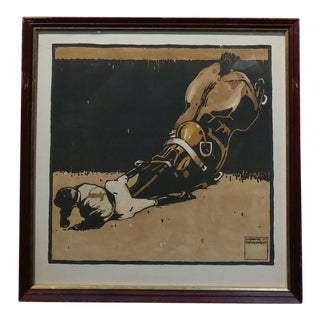 """Jockey Falling From a Horse"" Original Color Woodcut Print by Ludwig Hohlwein --C.1910"