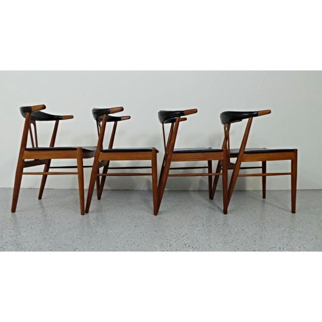 Image of Hans Wegner Style Teak Leather Dining Chairs - 4