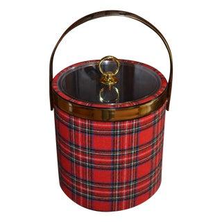 Mid-Century Tartan Holiday Ice Bucket