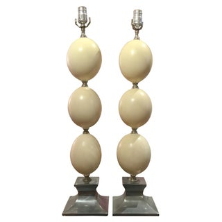 Anthony Redmile Ostrich Egg Shell Lamps - Pair